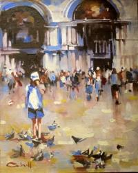 Patrick Cahill - Girl Among The Pigeons San Marco